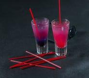 Twee gekleurde dranken, een combinatie van donkerblauw met purple, Stock Afbeelding