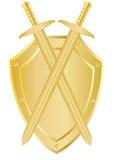 Twee gekruiste zwaarden op een schild stock illustratie