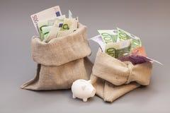 Twee geldzak met euro en spaarvarken Royalty-vrije Stock Foto's