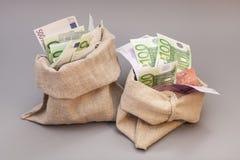 Twee Geldzakken met euro Stock Afbeelding