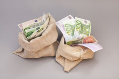 Twee Geldzakken met euro Royalty-vrije Stock Afbeeldingen