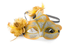 Twee gele Venetiaanse maskers Royalty-vrije Stock Afbeelding