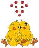 Twee gele vogels in liefde stock illustratie
