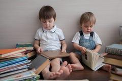 Twee gelijkaardige broers en boeken royalty-vrije stock foto