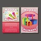 Twee gelukkig verjaardagsmalplaatje met trompet en GIF-doos vector illustratie