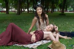 Twee gelukkige boho elegante modieuze meisjes met gitaar, picknick Royalty-vrije Stock Afbeelding