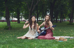 Twee gelukkige boho elegante modieuze meisjes met gitaar, picknick Royalty-vrije Stock Foto
