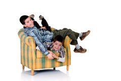 Twee gelukkige broers Stock Foto's