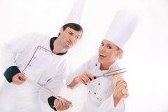 Twee gelukkige chef-koks Royalty-vrije Stock Afbeelding
