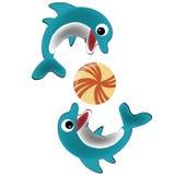 Twee gelukkige dolfijnen Stock Illustratie