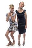 Twee gelukkige glimlachende gekscherende zusters Royalty-vrije Stock Fotografie