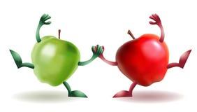 Twee gelukkige Grappige appelen Royalty-vrije Stock Fotografie