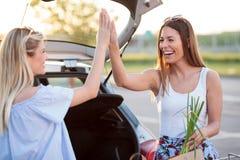 Twee gelukkige jonge vrouwen die elkaar hoog-fives-hoogte na een pretdag geven van het winkelen stock afbeelding