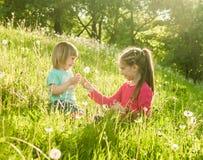Twee gelukkige kleine zusters op het gebied Royalty-vrije Stock Fotografie
