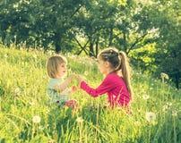 Twee gelukkige kleine zusters op het gebied Stock Foto's