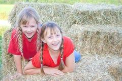 Twee gelukkige landbouwbedrijfmeisjes. Royalty-vrije Stock Foto's