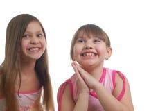 Twee gelukkige meisjes Royalty-vrije Stock Afbeeldingen