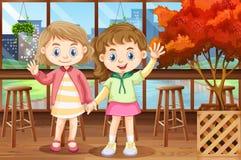 Twee gelukkige meisjes in restaurant royalty-vrije illustratie