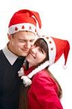 Twee gelukkige mensen in Cristmas stock fotografie