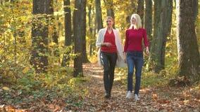Twee gelukkige pret hebben en meisjesvrienden die samen lachen De vrouw van de herfstvrienden met herfststemming Hello-de herfst  stock video