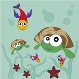 Twee gelukkige schildpadden Vector Illustratie