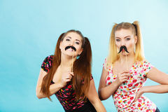 Twee gelukkige vrouwen die valse snor op stok houden royalty-vrije stock foto's