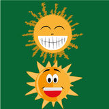 Twee gelukkige zonnen Vector Illustratie