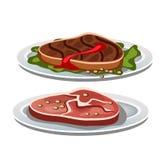 Twee geroosterd lapje vlees op een witte achtergrond, voedsel vector illustratie