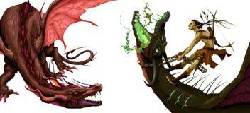 Twee geïsoleerde draken Stock Afbeeldingen