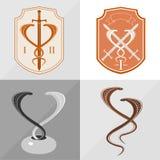 Twee gestileerde cobra vector illustratie