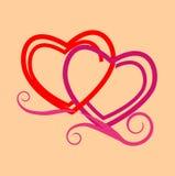 Twee gestileerde harten vector illustratie