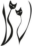 Twee gestileerde zwarte katten Royalty-vrije Stock Foto