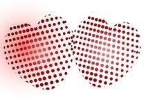 Twee gestippeld hart Stock Fotografie