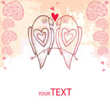 Twee gestippelde papegaaien in liefde op de geweven achtergrond met roze harten Stock Fotografie