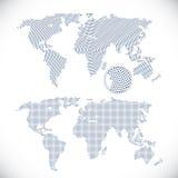 Twee gestippelde wereldkaarten royalty-vrije illustratie