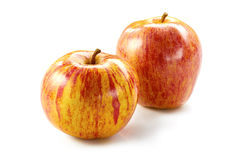 Twee gestreepte appelen op wit Royalty-vrije Stock Fotografie