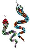 Twee gevormde slangen royalty-vrije illustratie