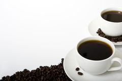 Twee Gevulde Koppen van de Koffie Stock Foto's