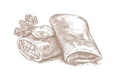 Twee gevulde pannekoeken met boter en peterselie Royalty-vrije Stock Foto