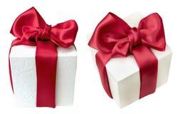 Twee gift witte doos voor viering Stock Foto
