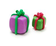 Twee Giften van Kerstmis Royalty-vrije Stock Foto