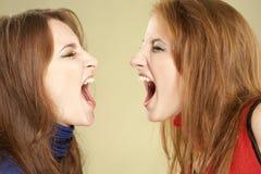 Twee gillende meisjes Stock Afbeeldingen