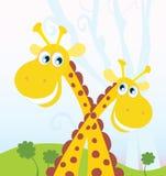 Twee giraffen stock illustratie