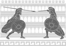 Twee gladiatoren Royalty-vrije Stock Foto's