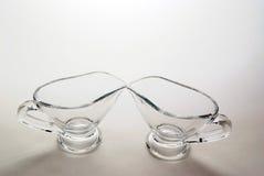 Twee glassauce-boats Royalty-vrije Stock Afbeeldingen