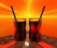 Twee Glazen bij Zonsondergang Stock Afbeeldingen