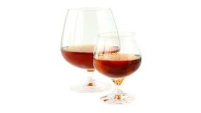 Twee glazen brandewijn stock afbeelding