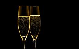 Twee glazen champagne Royalty-vrije Stock Afbeeldingen