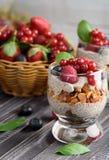 Twee glazen chiapudding met verse aardbeien, frambozen royalty-vrije stock foto's