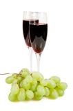 Twee glazen en wijnstok. Royalty-vrije Stock Foto's